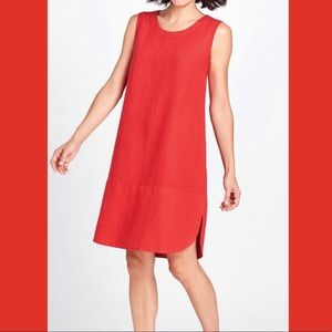 Flax Mini Red Stripe Rosie Sleeveless Tunic Dress